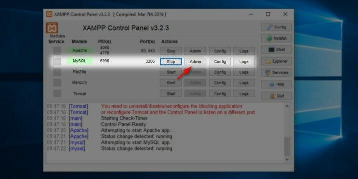 cara masuk ke phpMyAdmin pada XAMPP 03