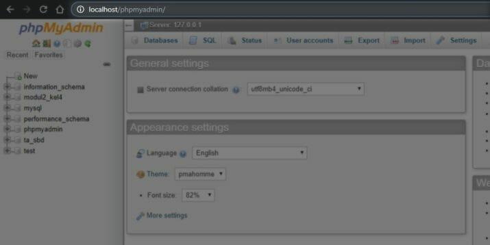 cara masuk ke phpMyAdmin pada XAMPP 04