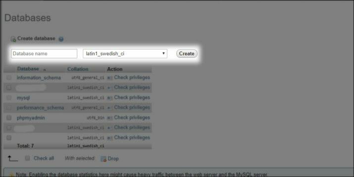 Halaman untuk pembuatan database pada XAMPP