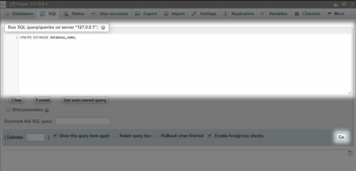 Perintah untuk membuat database pada XAMPP.