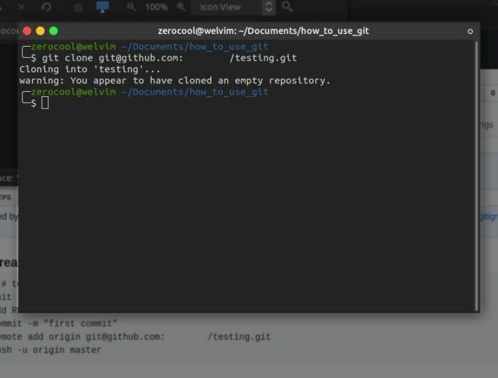 Aplikasi perintah Git Clone pada terminal.