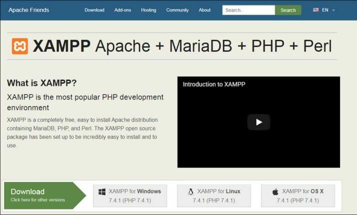 Tampilan homepage website resmi XAMPP.